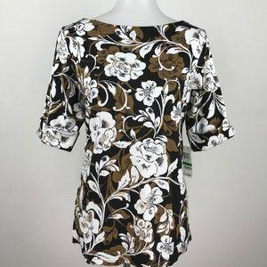 Karen Scott Floral Printed Cuff Sleeve Blouse